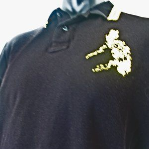 Coach  Golf Polo Black, Yellow World Map SHIRT 2X